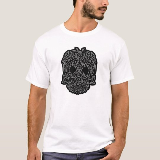 Awesome Tribal Skull Gray & Black Customizable T-Shirt