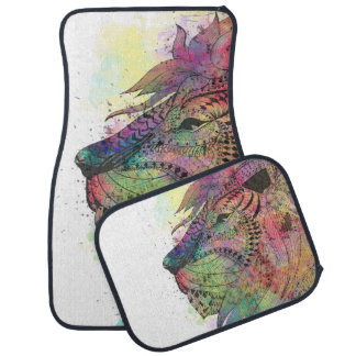 Awesome tribal watercolor lion design car mat