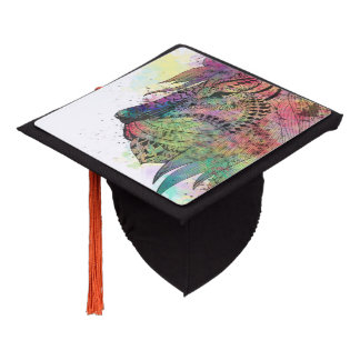 Awesome tribal watercolor lion design graduation cap topper