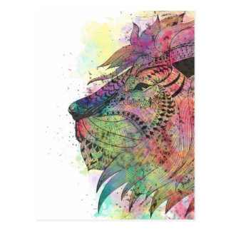 Awesome tribal watercolor lion design postcard