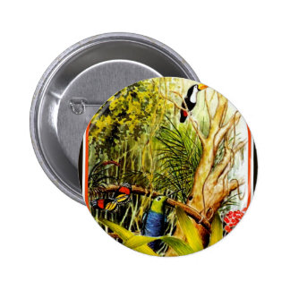 Awesome Tropical Jungle Birds Butterfly Photo Buttons