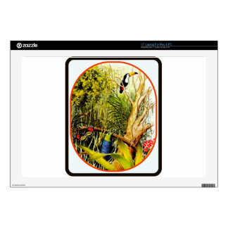 """Awesome Tropical Jungle Birds Butterfly Photo 17"""" Laptop Decal"""