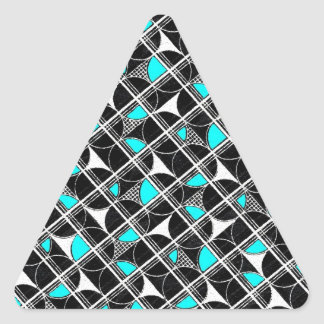 Awesome Turquoise Black Vintage Abstract Design Triangle Sticker