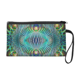 Awesome turquoise Fractal Art Wristlet