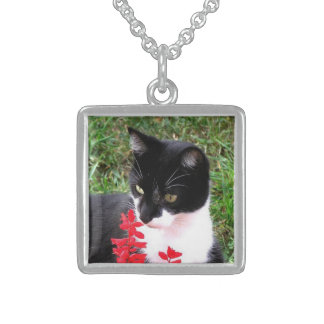 Awesome Tuxedo Cat in Garden Sterling Silver Necklace