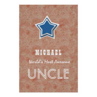 Awesome UNCLE Blue Star and Rust Texture A7. Poster