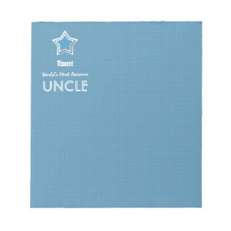 Awesome UNCLE Blue White with Star and Name B07 Memo Pad