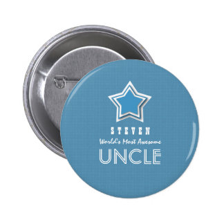 Awesome UNCLE Blue White with Star and Name B17B 2 Inch Round Button