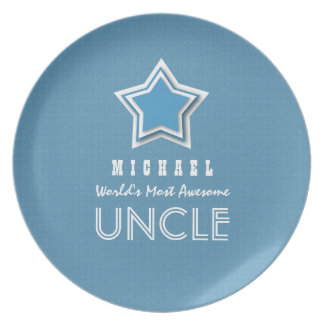Awesome UNCLE Blue White with Star and Name B21C Dinner Plate