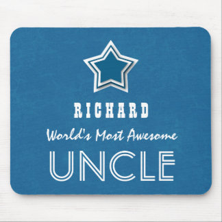 Awesome UNCLE French Blue and White with Star A8 Mouse Pad
