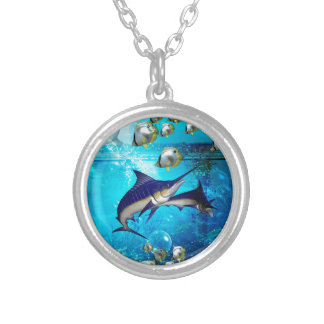 Awesome underwater world silver plated necklace
