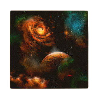 Awesome universe with planet and  stars wood coaster