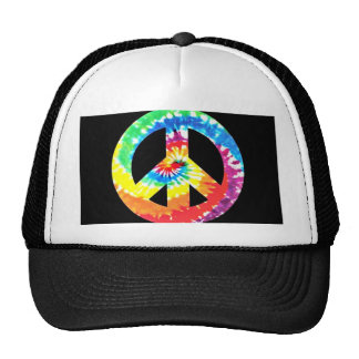 awesome Vibrant Tye Dyed Peace Sign Trucker Hat
