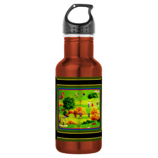 Awesome Victorian Golf Course Pattern Colorful Stainless Steel Water Bottle
