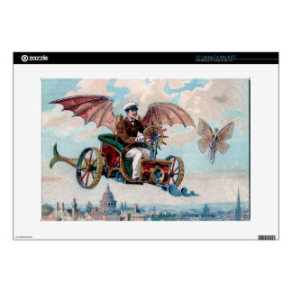 Awesome Victorian Steampunk Flying Car Decal For Laptop