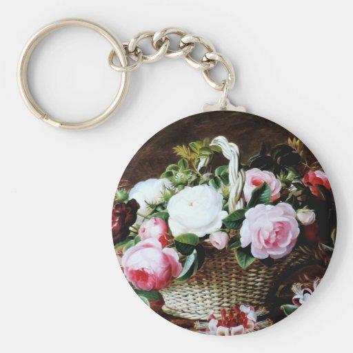 Awesome Vintage Basket of Roses Photo Image Keychains