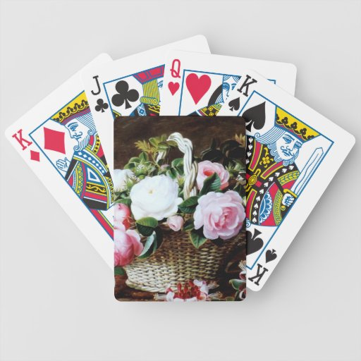Awesome Vintage Basket of Roses Photo Image Playing Cards