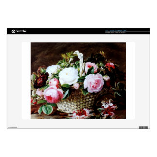 """Awesome Vintage Basket of Roses Photo Image 15"""" Laptop Decal"""
