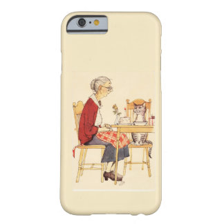 Awesome Vintage Cat and Woman Sitting for Dinner Barely There iPhone 6 Case