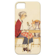 Awesome Vintage Cat and Woman Sitting for Dinner iPhone 5 Cover