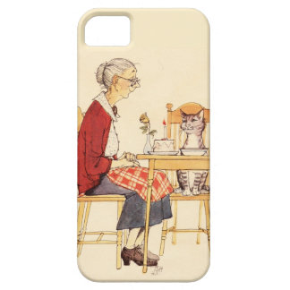 Awesome Vintage Cat and Woman Sitting for Dinner iPhone SE/5/5s Case