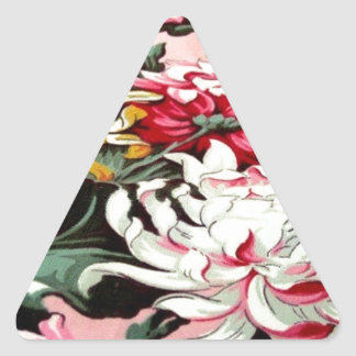 Awesome VIntage Colorful Floral Pattern Design Triangle Sticker