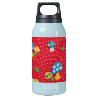 Awesome Vintage Colorful Mushrooms Fabric Photo Insulated Water Bottle