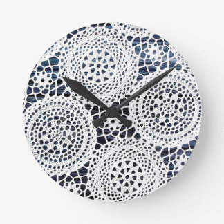 Awesome Vintage Crocheted Doily Design Round Wallclocks