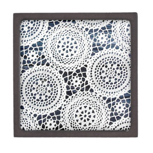 Awesome Vintage Crocheted Doily Design Premium Jewelry Box
