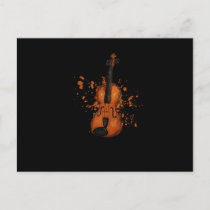 Awesome Violinist Violin Paint Splatter Graphic Holiday Postcard