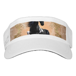 Awesome wild horse with floral elements headsweats visor