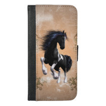 Awesome wild horse with floral elements iPhone 6/6s plus wallet case