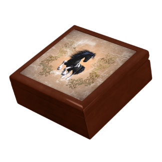 Awesome wild horse with floral elements jewelry box