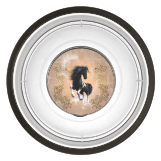 Awesome wild horse with floral elements pet bowl