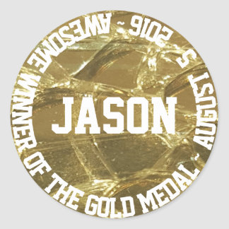 Awesome Winner of The Gold Medal Name Date Classic Round Sticker