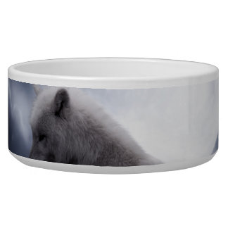 Awesome Wolf and Moon White Wolf Bowl