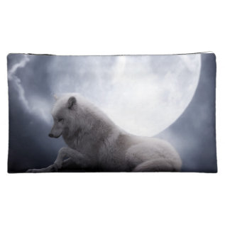 Awesome Wolf And Moon White Wolf Cosmetic Bag at Zazzle