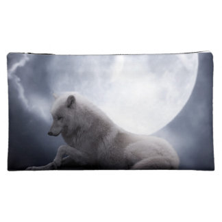 Awesome Wolf and Moon White Wolf Cosmetic Bag