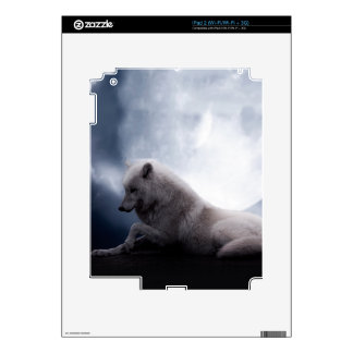 Awesome Wolf and Moon White Wolf Decal For iPad 2
