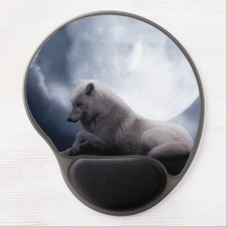 Awesome Wolf and Moon White Wolf Gel Mouse Pad