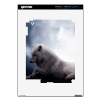 Awesome Wolf and Moon White Wolf iPad 3 Decal