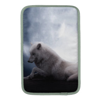 Awesome Wolf and Moon White Wolf MacBook Air Sleeves