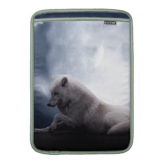 Awesome Wolf and Moon White Wolf MacBook Air Sleeve
