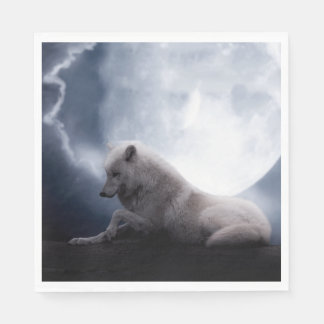 Awesome Wolf and Moon White Wolf Napkin