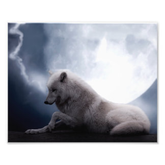 Awesome Wolf and Moon White Wolf Photo Print