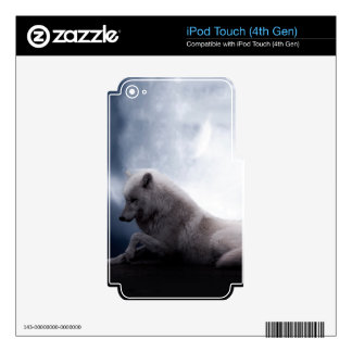 Awesome Wolf and Moon White Wolf Skins For iPod Touch 4G