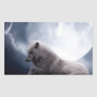 Awesome Wolf and Moon White Wolf Rectangular Sticker