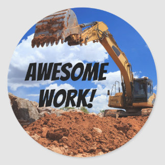 Awesome Work Digger Tractor Excavator Photo Classic Round Sticker