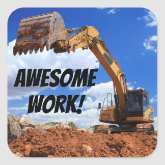 Awesome Work Digger Tractor Excavator Photo Square Sticker