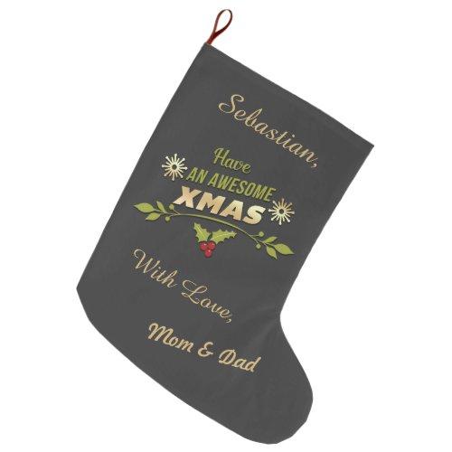 Awesome Xmas Holiday Chalkboard Double Sided Large Christmas Stocking